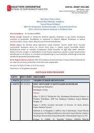 2009 – 2010 Bahar Dönemi - Sosyal Hizmetler - Hacettepe ...