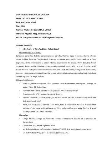 Propuesta Pedagógica DS I 2011 - Facultad de Trabajo Social