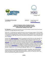 two pittsburgh area students place in national pbs kids go ... - WQED