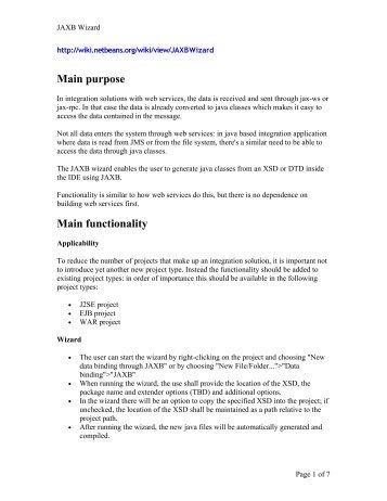 Main purpose Main functionality - NetBeans Wiki