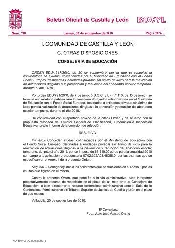BOCYL n.º 190 30-septiembre-2010 - Escuelas Católicas de Castilla ...