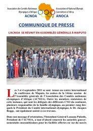L'ACNOA se réunit en Assemblée générale à Maputo