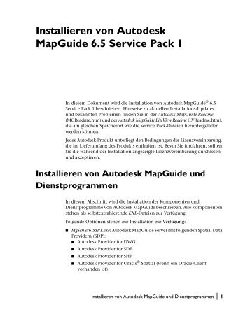 Installieren von Autodesk MapGuide 6.5 Service Pack 1