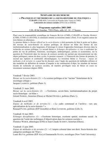 Version pdf d programme du séminaire 2005-2006 - Jourdan.ens.fr ...