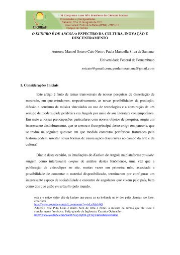 O KUDURO É DE ANGOLA - XI Congresso Luso Afro Brasileiro de ...