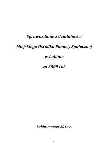 Sprawozdanie MOPS 2009 - Miejski Ośrodek Pomocy Społecznej