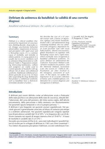 Delirium da astinenza da butalbital: la validità di una corretta ...
