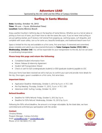 Adventure LEAD Surfing in Santa Monica - USC Student Affairs ...