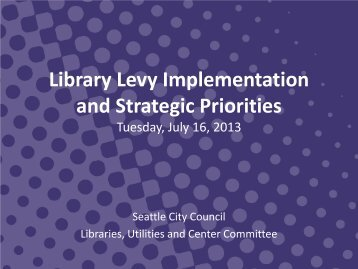 Library Levy Implemenation Progress Presentation