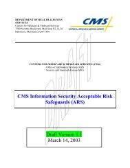 CMS Information Security Acceptable Risk Safeguards (ARS) Draft ...