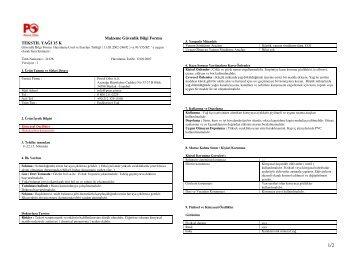 Malzeme Güvenlik Bilgi Formu TEKSTIL YAĞI 15 K - Petrol Ofisi