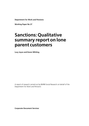 Sanctions: Qualitative summary report on lone parent customers