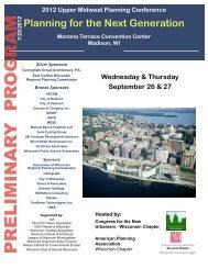 prelimin ar y pr ogram - American Planning Association, Wisconsin ...