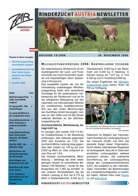ZAR-Newsletter Ausgabe 13-2006 - Zentrale Arbeitsgemeinschaft ...