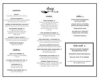 dinner menu - Dine Here US