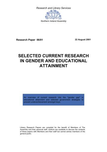 Selected Current Research in Gender and Educational Attainment