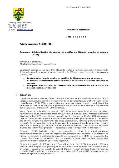 Préavis 2011-09 Régionalisation du SDIS - Yvonand