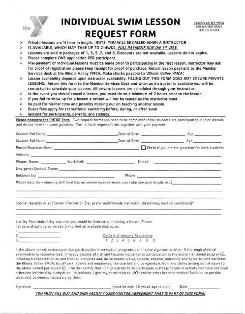 INDIVIDUAL SWIM LESSON REQUEST FORM - Illinois Valley YMCA