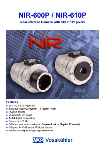 NIR-600P / NIR-610P Near-infrared Camera with 640 ... - Photon Lines