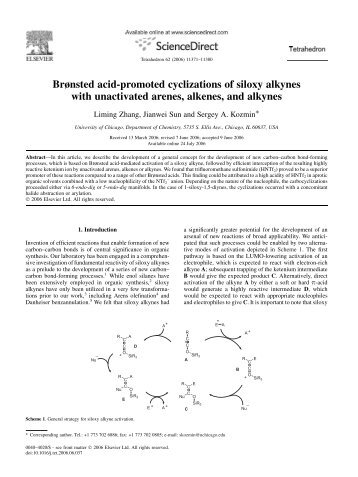 Brønsted acid-promoted cyclizations of siloxy alkynes with ...