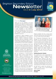 Brighton Secondary School Newsletter July 2013