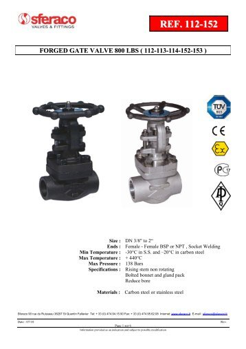 forged gate valve 800 lbs ( 112-113-114-152-153 )