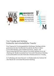 Programm des Symposiums - Schwerpunkt Wissenschaft und Kunst