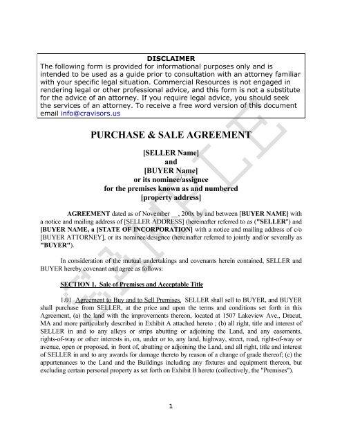 PURCHASE & SALE AGREEMENT - CR Advisors