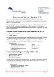 Education and Training – Overview 2013 - Commercial Radio ...