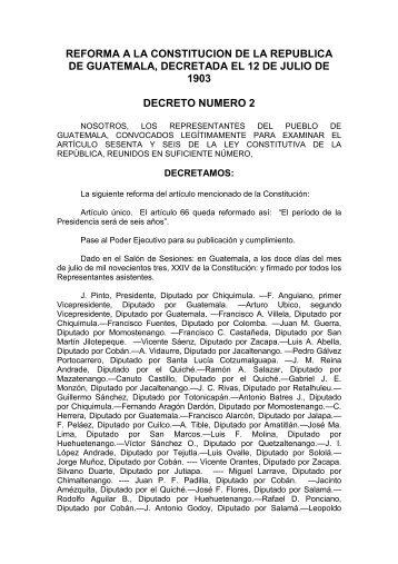 reforma a la constitucion de la republica de guatemala, decretada el ...