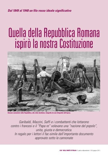 1849-1948. Quella della Repubblica Romana ispirò la nostra ... - Anpi