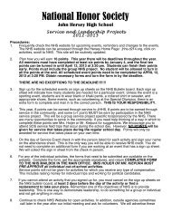 Service Project Instructions - John Hersey High School