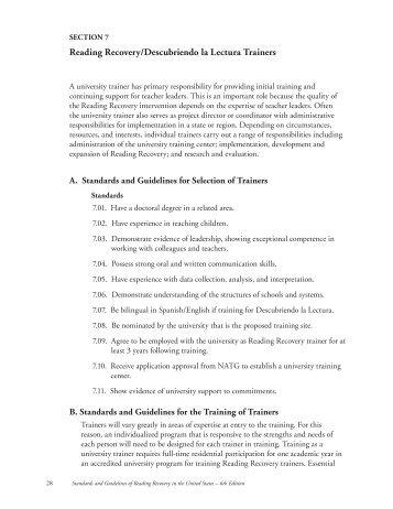 Section 7. Reading Recovery/Descubriendo la Lectura Trainers