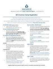 2012 Summer Camp Registration - Magnificat High School