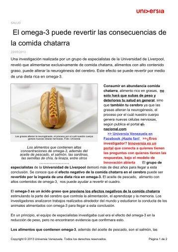 El omega-3 puede revertir las consecuencias de la comida chatarra