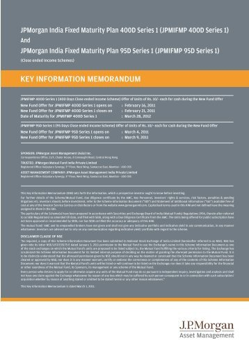 KEY INFORMATION MEMORANDUM - JP Morgan Asset Management