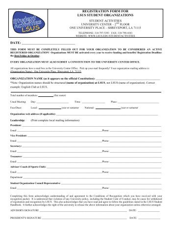Registration Form - Louisiana State University at Shreveport