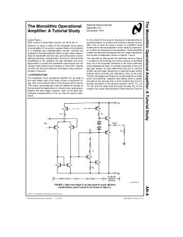 The Monolithic Operational Amplifier - Electrical and Computer ...