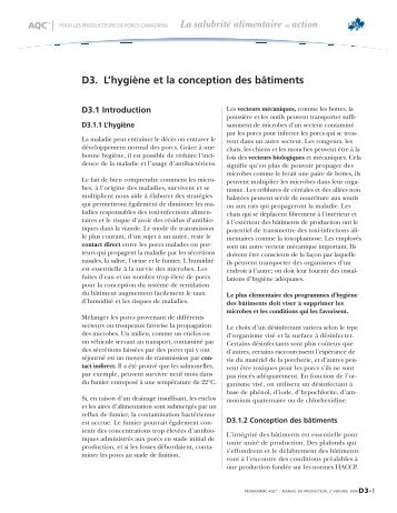 D3. L'hygiène et la conception des bâtiments - CQA