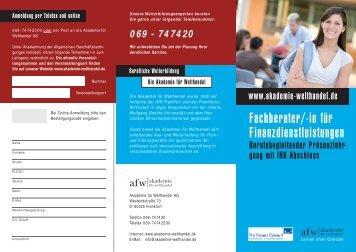 Fachberater/-in für Finanzdienstleistungen