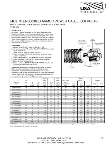 interlocked armor control, type mc (14awg) - U.S.A. Wire & Cable Inc.