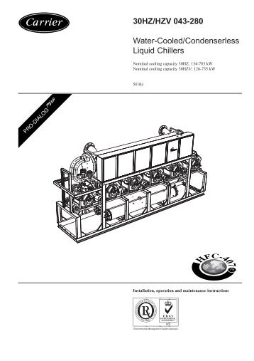 30HZ/HZV 043-280 Water-Cooled/Condenserless Liquid Chillers
