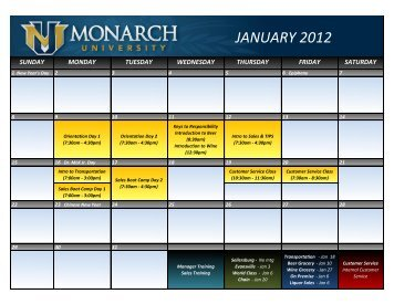 Monarch Beverage Training Calendar January 2012