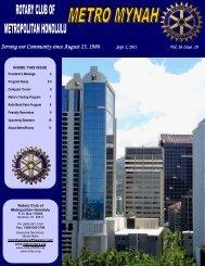 September 1, 2011 - Rotary Club of Metropolitan Honolulu