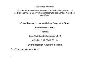 Vortrag von Johannes Remmel - Eine Welt Netz NRW