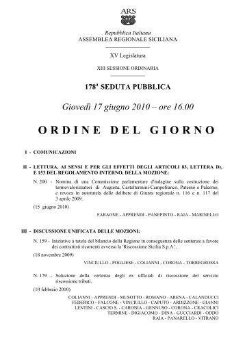 ORDINE DEL GIORNO - Assemblea Regionale Siciliana