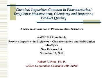 Chemical Impurities Common in Pharmaceutical - American ...