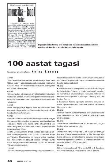 100 aastat tagasi (Heino Rannap) - Haridus