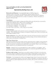 Terms and Conditions - Sterling Tours, Ltd