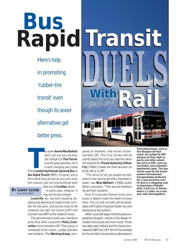 Bus Rapid Transit Duels With Rail (Metro Magazine)